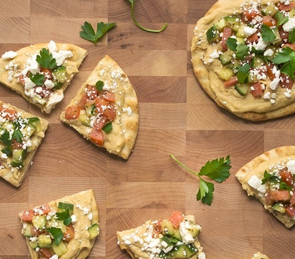 Hummus Flatbread Pizza with Greek Salad