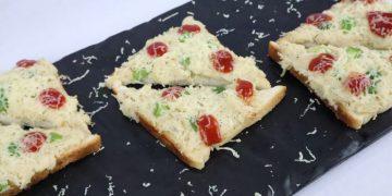 chicken alfredo open toast